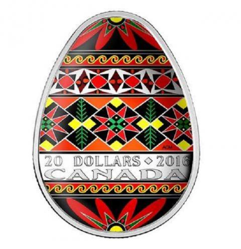 Canadian Mint to issue Ukrainian Pysanka egg-shaped silver colored coin (PHOTO)