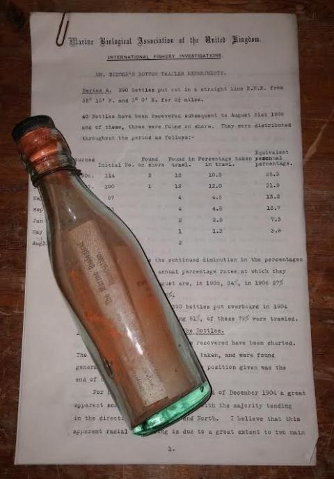 Oldest message in a bottle spent 108 years at sea for a science experiment