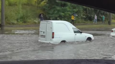 Heavy raining caused flooding in Cherkasy - Ukrainian emergency service (VIDEO)