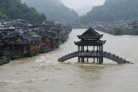 Seven people died in flooding in China