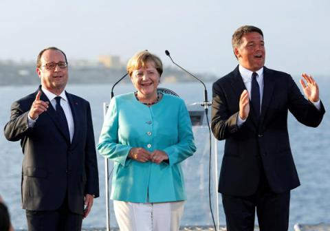 Leaders of Italy, France and Germany talks over EU future