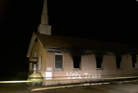 """Vote Trump"" painting on burnt Mississippi church"