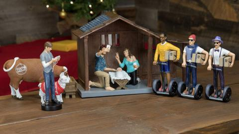 One-of-a-Kind Modern Nativity Set Reimagines the Birth of Jesus in the Age of iPhones and Man Buns