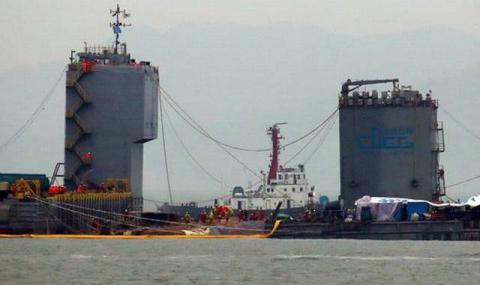 South Korean ferry, where more than 300 people died, lifted from sea