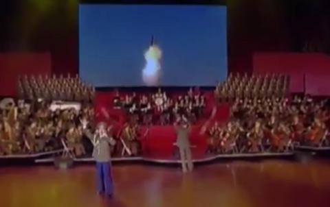 North Korea unveils mocked-up video of its missiles blowing up US city at music concert