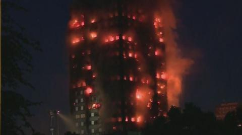 Grenfell Tower in western London on massive fire (VIDEO)