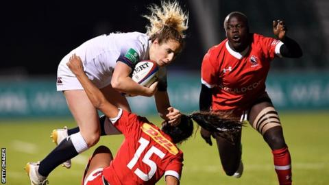 England women 79-5 Canada women: Jessica Breach scores six tries
