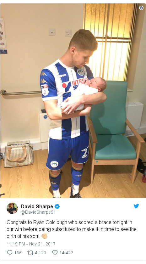 Wigan scorer subbed to dash to son