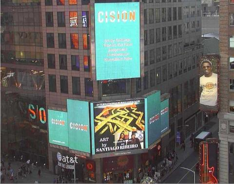 Power of Image in Times Square in New York with art by Santiago Ribeiro in Huffingtonpost