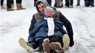 County Cork great-grandmother sledging picture goes viral