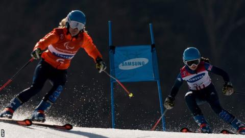 Winter Paralympics: GB pairs second and third at slalom halfway point