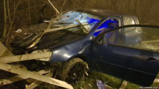 Four people in 'unbelievable' escape as wood skewers car