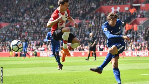 Chelsea's Marcos Alonso charged by FA for tackle on Southampton's Shane Long