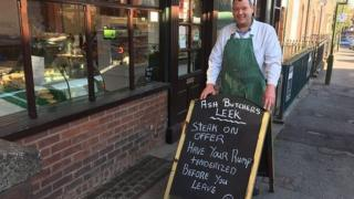 Leek butcher warned by police over 'risque' adverts