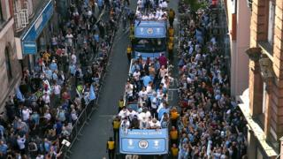 Manchester City parade Premier League trophy