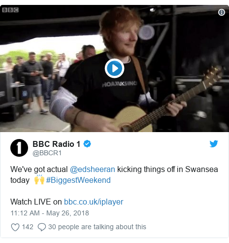 Ed Sheeran 'warms up' the Biggest Weekend crowd in Swansea