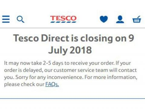 Supermarket giant to close Tesco Direct