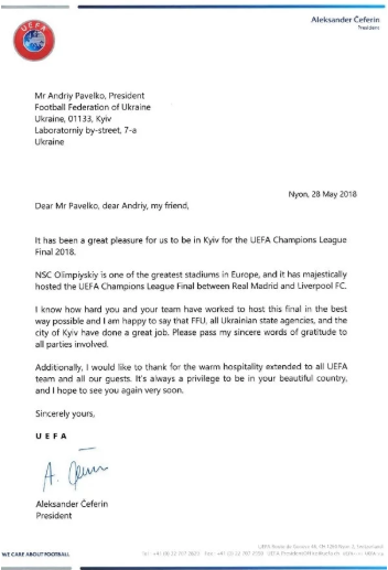 UEFA President officially thanks FFU President for UEFA Champions League organization