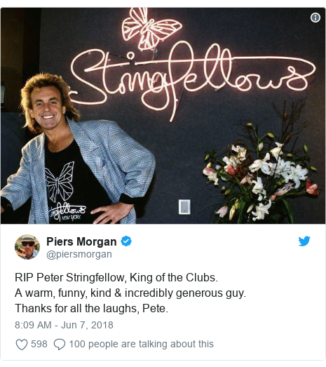 Peter Stringfellow: Celebrities pay tribute for 'good times'
