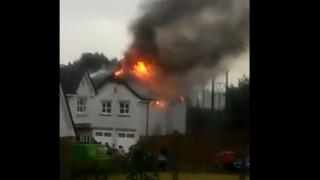 House in flames after lightning strike near Lenzie