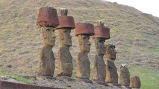 How hats were placed atop Easter Island statues