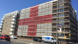 World Cup 2018: Hove scaffolders fly giant flag for England