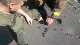 Man gets stuck in melted Tarmac in Newcastle