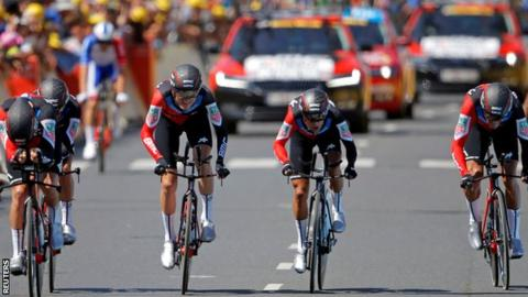 Tour de France: Greg van Avermaet in yellow as BMC Racing win team time trial
