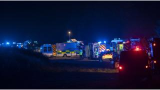 Five dead as minibus and car crash in Moray