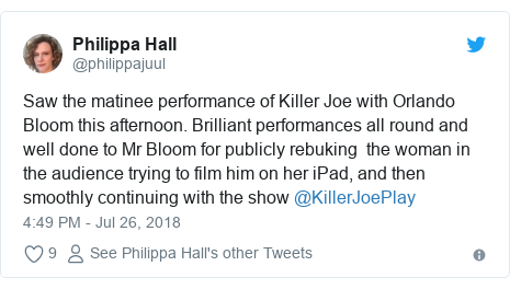 Orlando Bloom twice halts Killer Joe 'over iPad'