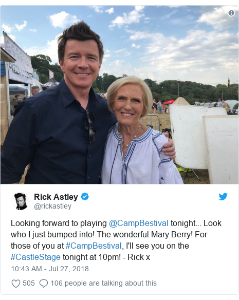 Mary Berry plays drums with Rick Astley at Camp Bestival