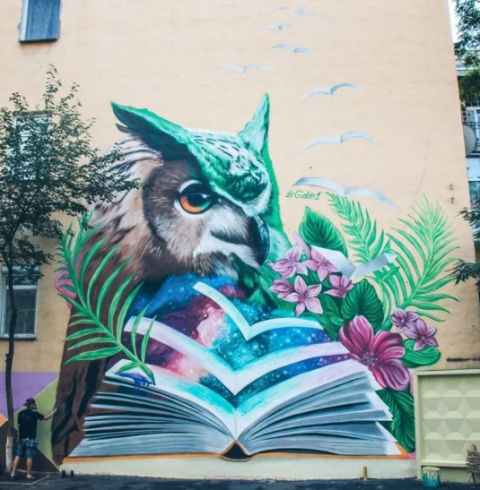 Mural with owl and book appears in Kyiv