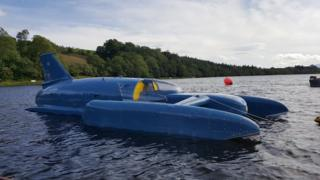 Donald Campbell's Bluebird hydroplane returns to water