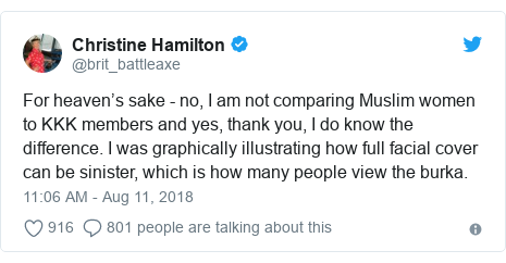 Christine Hamilton axed from charity over burka tweet