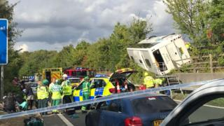 M25 coach crash: Forty-one injured, three seriously