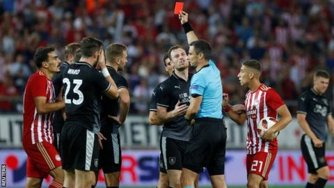 Olympiakos 3-1 Burnley: Clarets trail in Europa League play-off
