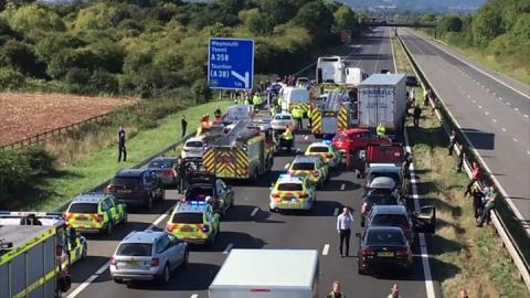 Two dead as lorry and cars crash on M5, near Taunton