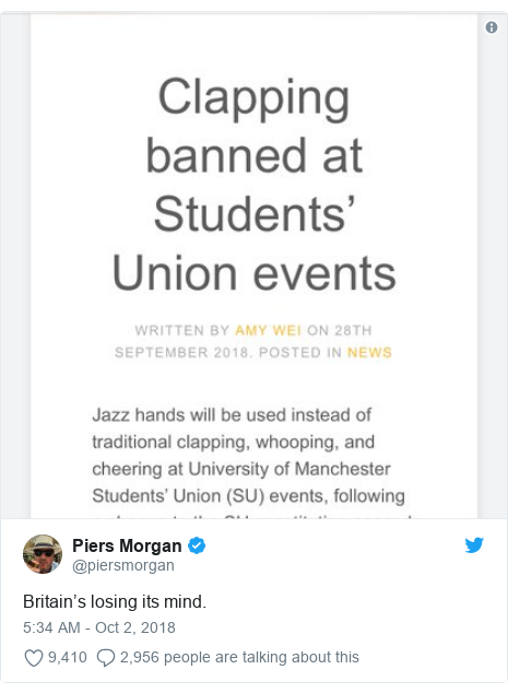 Manchester University student union bans clapping