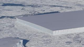 Nasa photographs rectangular iceberg