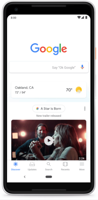 Google Discover begins to replace the iconic search box on mobile