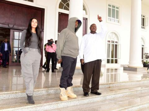 Kanye West gives Ugandan leader pair of trainers