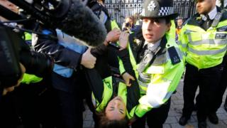 Climate protesters glue themselves to Downing Street gates