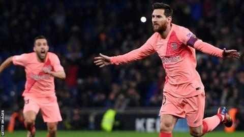 Messi scores twice as Barcelona go three points clear at top