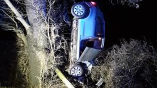 Shrewsbury crash leaves car vertical in tree