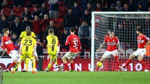 Carabao Cup: Burton Albion win 1-0 at Middlesbrough to reach semi-finals