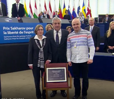 Sentsov's sister gets Award of Sakharov Prize in EP, - video