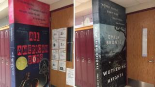 The school using giant book murals to encourage reading