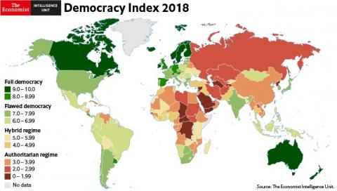 Ukraine occupies 84th place in Democracy Index 2018