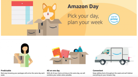 Amazon Prime members can choose a weekly delivery date with launch of 'Amazon Day'