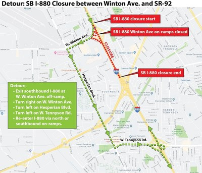 TRAFFIC ADVISORY: Overnight Closures of Southbound I-880 in Hayward Start Tonight